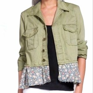 Free People Green Utility Jacket w Floral Ruffle